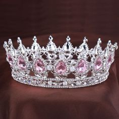 Vintage princess Crystal tiara Pink Rhinestone Bridal Hair Jewelry Wedding Hair Accessories Queen Pageant Tiaras and Crowns - Schmuck - braut haarschmuck Cute Jewelry, Hair Jewelry, Bridal Jewelry, Vintage Jewelry, Fashion Jewelry, Jewelry Bracelets, Royal Jewels, Crown Jewels, Vintage Princess
