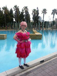 Effie Trinket cosplay at Comic Con 2014 by Rebecca Ann Jordan.