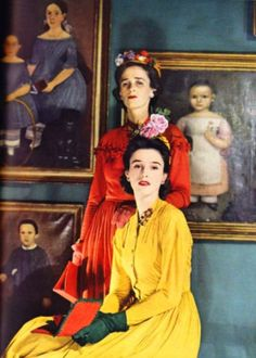 Happy birthday, Babe Paley, born 5 July 1915. In 1941 (the year this photograph was taken) she was Babe Mortimer, wife of Standard Oil heir Stanley Grafton Mortimer. Behind her is elder sister Betsey Roosevelt, divorced from James Roosevelt, a son of FDR, then President. She married Jock Hay Whitney in 1942. Vogue, February 1941.