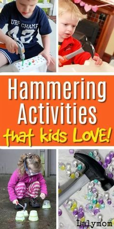 Kids will love these fun hammering activities from LalyMom! These ideas are great for fine motor development and preschool learning. From water beads to frozen blocks, kids will enjoy these hammering activities! These ideas are great for preschoolers or even kindergarteners to promote fine motor development, which can be done at home! Fine Motor Activities For Kids, Preschool Learning, Kindergarten Activities, Toddler Preschool, Learning Activities, Toddler Learning, Sensory Tools, Sensory Activities, Toddler Activities