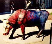 "Cows on parade Chicago ""acowdemia"" second side of a cow i collaborated when attending the american academy of art , chicago.1999   http://www.francodemonte.com"