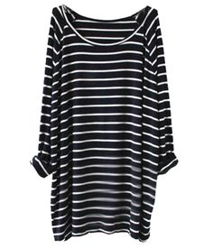 Sheinside® Women's Navy White Striped Long Sleeve T-shirt (One Size, Blue)