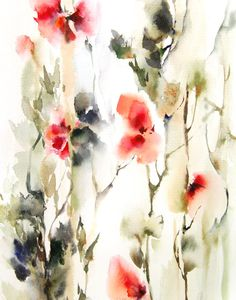Red Flowers Abstract Painting, Wall Art, Watercolor Painting, Art Print, Watercolour Art