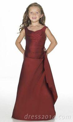 Grape Chiffon A-line Straps Empire Junior Floor-Length Bridesmaid Dresses  with Sash - db191e167077