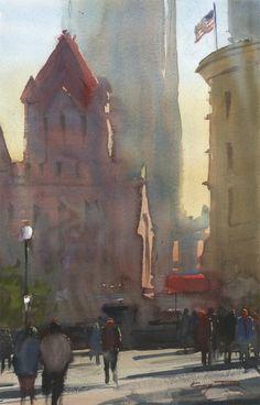 Gary Tucker: Copley Square, Early Morning