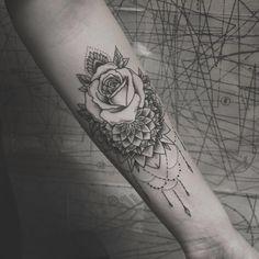 Mandala/rose forearm piece