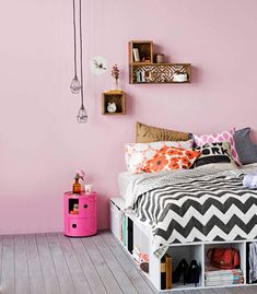 Make: storage bed base  Solid storage cubes and pine timber lengths can make a great DIY bed base. Use brackets to hold the shelving cubes together, and nails or screws to fasten the slats to the cubes. Voila! We used Moli 3-cube storage units, 39  bucks each, Furniture Mate.