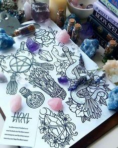 A few rough doodles for fun new ideas!art A few rough doodles for fun new ideas! Body Art Tattoos, Tattoo Drawings, New Tattoos, Cool Tattoos, Tatoos, Tattoo Plume, Witchcraft Tattoos, Wiccan Tattoos, Tattoo Flash Sheet