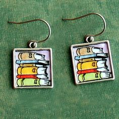 stacked book earrings
