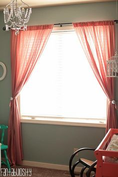 Baby Girl Nursery Ideas Gray and Coral Design Curtains http://fantabulosity.com