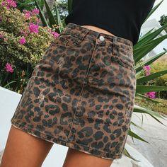 0606ee35fa US $29.92 |Sexy Leopard print denim skirt women Summer bodycon high waist  pencil skirt Streetwear 2017 fashion casual mini Saia skirt women-in Skirts  from ...