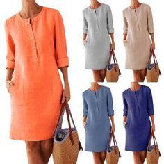 Short Sleeve Denim Dress, Short Shirt Dress, Midi Dress With Sleeves, Plus Size Summer Dresses, Casual Summer Dresses, Summer Dresses For Women, Plain Dress, The Dress, Fiesta Outfit