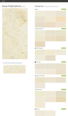 Onice  FTI261329x18. Gallant. HDP High Definition Porcelain. Florida Tile. Behr. Benjamin Moore. PPG Pittsburgh. Dutch Boy. Ralph Lauren Paint. Valspar Paint. Olympic.  Click the gray Visit button to see the matching paint names.