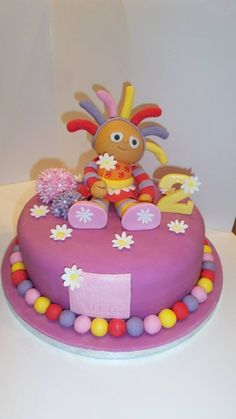 Upsy Daisy cake ~ purple theme instead of orange & pink Cbeebies Cake, 1st Birthday Cakes, Birthday Ideas, First Communion Cakes, Daisy Cakes, Garden Cakes, Horse Cake, Book Cakes, Character Cakes