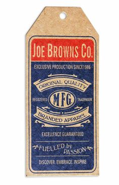 Joe Browns Co #hangtag