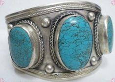 China tibet Silver Cuff Turquoise bracelet #Unbranded Turquoise Cuff, Turquoise Jewelry, Turquoise Bracelet, Cheap Bracelets, Bangle Bracelets, Bangles, Sterling Silver Name Necklace, Silver Cuff, Native American Jewelry
