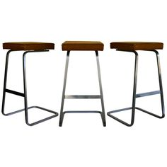 Set of Three Early Barstools by Ludwig Mies van der Rohe | From a unique collection of antique and modern stools at http://www.1stdibs.com/furniture/seating/stools/