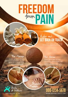 Flyer A5 Template created with Youzign - Chiropractor Free from Pain Theme #YouZign