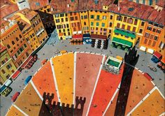 Siena Italy - it looks like a paint chip sample from the hardware store!  How many versions of ochre, orange, and red can we put in one area?