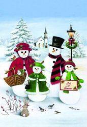 Let it Snow Snowman Family Winter House Flag