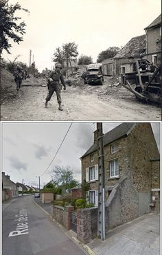 La Haye du Puits Rue de Barneville, July 1944 Normandy and today D Day Normandy, Then And Now Photos, D Day Landings, Foto Poster, Powerful Images, Time Photo, Historical Pictures, World History, Military History