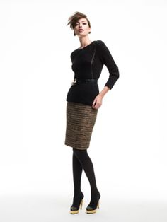 Doncaster.com-MDON48-123  Same Linton skirt with metallic hand-crocheted inlay and belt.