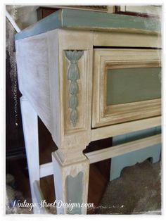 Distressed Blue & White Desk