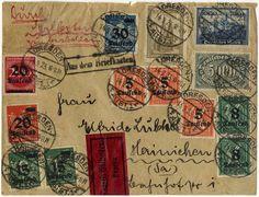 """5000 M. Wartburg nebst zwölf weiteren Werten als Express-Fernbrief """"AUS DEM BRIEFKASTEN"""" von """"DRESDEN"""" 14.9.23 nach Hainichen  Erhaltung   A..."""