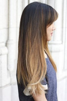 Long Balayage Bangs Ombre Asian Layers