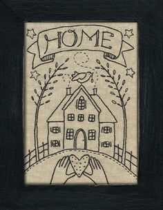 vintage style sampler - embroidery pattern. I wish I knew how to embroider, I would do this one! I love it. More