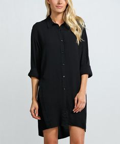 Look what I found on #zulily! Black Button-Down Hi-Low Dress #zulilyfinds
