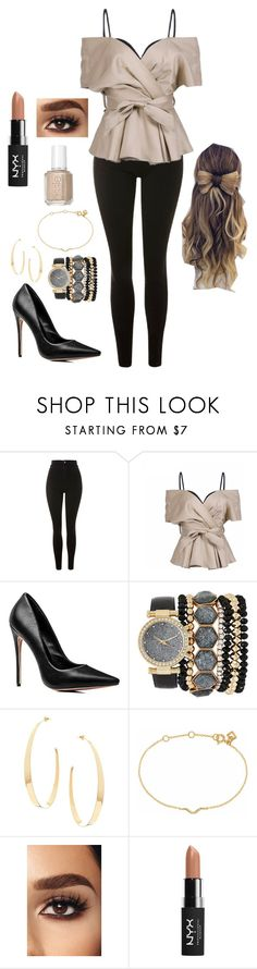 """New year new me"" by goddessofbacon ❤ liked on Polyvore featuring Topshop, Jessica Carlyle, Lana, Maya Magal, NYX and Essie"