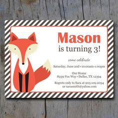 fox birthday party | Printable Fox Birthday Party Invitation