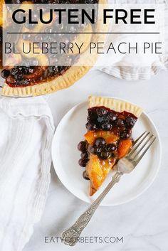 Gluten Free Blueberry Peach Pie! Perfect dessert for summer fruit. Make this gluten free cassava flour pie crust with a vegan or paleo option!