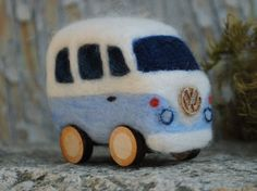 Needle felted Volkswagen vans Etsy listing at https://www.etsy.com/listing/233657246/needle-felted-volkswagon-van