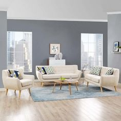 Modway Remark 3 Piece Living Room Set, Multiple Colors Size: inchLarge x 170 inchW x inchH 3 Piece Living Room Set, Living Room Paint, Living Room Carpet, Living Room Grey, Living Room Sets, Living Room Furniture, Living Room Designs, Living Room Decor, Sofa And Loveseat Set