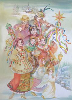 Ukrainian carollers by artist Nadia Starovoytova - Didukh, Kalada and Midnight Star, Ukraine Winter Solstice Christmas In Ukraine, Ukrainian Christmas, Christmas Cats, Christmas Greetings, Vintage Christmas, Folklore, Ukrainian Art, Winter Solstice, My Heritage