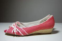 Women's Mudd Manuela Red and White Striped Peep Toe Espadrilles 6.5 #Mudd #Espadrilles