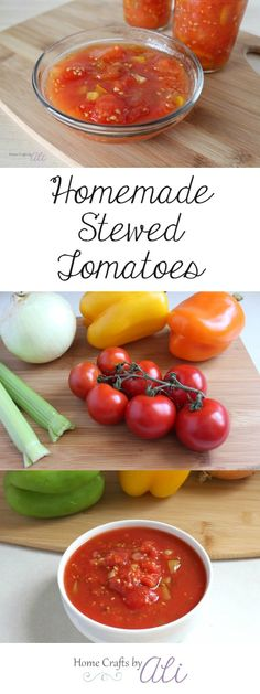 Easy to Make Homemade Stewed Tomatoes - Colorful ingredients make delightful and flavorful tomatoes which are a tasty addition to your soups sauces and salsa Top Recipes, Canning Recipes, Vegetable Recipes, Easy Dinner Recipes, Healthy Recipes, Delicious Recipes, Stewed Tomato Recipes, Stewed Tomatoes, Marinated Tomatoes