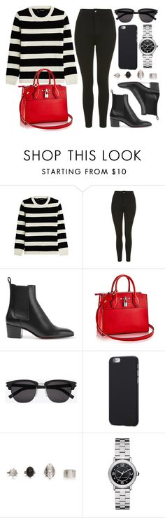 """""""Style #11442"""" by vany-alvarado ❤ liked on Polyvore featuring The Kooples, Topshop, Christian Louboutin, Yves Saint Laurent and Marc Jacobs"""
