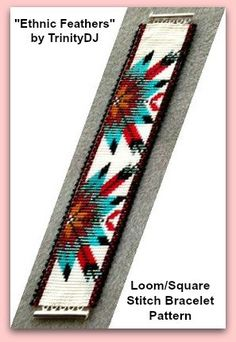 BP-ET-002 - Ethnic Feathers - Loom or Square Stitch Bracelet Pattern - In The RAW