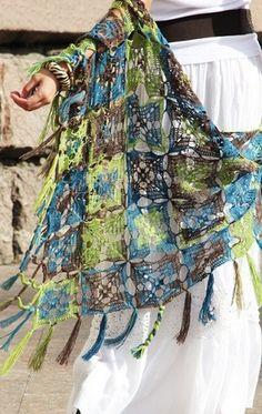 Crochet shawl with chart.