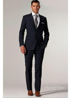 Midnight Blue Two Buttons Vented Best Men Suits    Custom made business suits,100% fit promise, free shipping worldwide, Wholesale price for every suit, buy your business suits now for less from http://www.honeybuy.com/c/Business-Suits