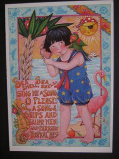 UNUSED 1993 vintage greeting card Mary Engelbreit Sea Shell Sea Shell... - blank