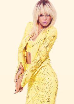 Yellow Leather Clad Rihanna