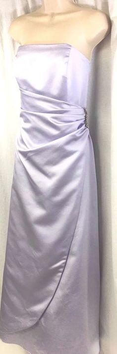 David's Bridal Lilac Purple Strapless Dress Bridesmaid Wedding Formal Prom Sz 8