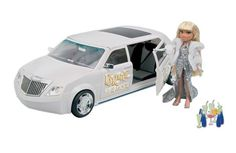"""Bratz Formal Funk Limousine with working digital FM radio, horn sound and lights both inside and out. Bratz late-night limo comes with three playset themes in one. Your Bratz can get all gussied up at the primping station, and then hang out in the smoothie bar and cruisin' lounge. Set comes with 15 accessories, adjustable seats and storage areas. Fits up to four Bratz dolls. Requires 5 """"AAA"""" alkaline batteries."""