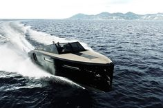 the hull of blue martin's evo 43 speedboat expands in size with push of a button