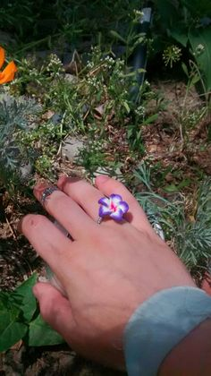 Hibiscus flower ring rave wear boho bohemian gypsy by LouLeeAndMe