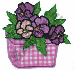 FLOWER POT APPLIQUE embroidery design